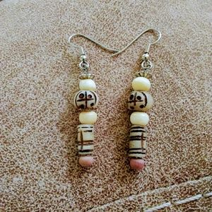 Tribal Earrings Resin and Bone Earrings